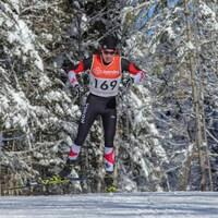 Une jeune homme fait du ski de fond dans les bois enneigés.
