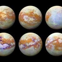 Six images de la lune Titan de Saturne.