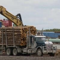 Un camion de billots dans une scierie.