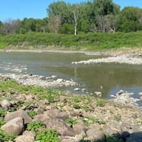 Des cailloux dans la rivière Rouge.