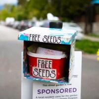 Une boîte avec l'inscription free seeds.