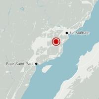 Carte localisant un séisme dans Charlevoix.