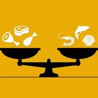 Images infographique d'une balance avec des protéines animales d'un côté et des protéines de la mer de l'autre côté.