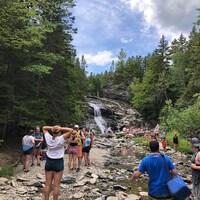Une trentaine de touristes sont agglutinés devant les chutes Laverty.