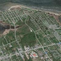 Image satellite de la ville de Shediac montrant les rues et la baie