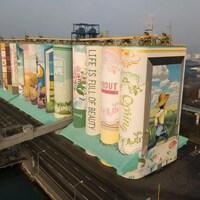 Des silos à grains sud-coréens forment une grande fresque.