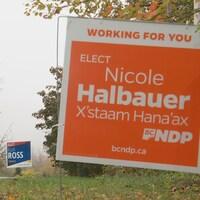 Des pancartes électorales au bord de la route.