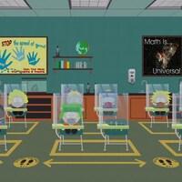 Image du dessin animé où l'on voit une classe de l'école primaire de South Park. Les élèves sont assis à leurs pupitres et protégés par des panneaux en plexiglas.