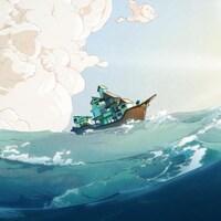 Dessin d'un bateau sur une étendue d'eau agitée, surplombée par des nuages et un soleil éclatant.