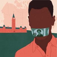 Un homme bâillonné par un billet canadien de 20 dollars sur la colline du Parlement du Canada