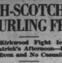 Portion d'un article de journal dédié à la rencontre de curling entre les irlandais et écossais de Noranda