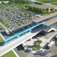 Représentation d'une station, présentée dans le cadre du projet initial du REM.