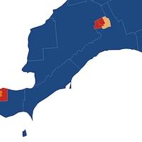 Carte électorale qui montre que les conservateurs ont remportés toutes les circonscriptions à l'exception de celles situées dans les villes de Windsor et de London.