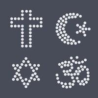 Représentation graphique de 4 symboles religieux