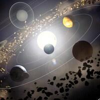 Les planètes du système solaire en orbite autour du Soleil.