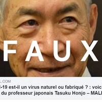 Une publication avec le titre « Le covid-19 est-il un virus naturel ou fabriqué? Voici la réponse du professeur japonais Tasuku Honjo »