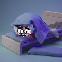 Un cerveau affichant des yeux anxieux se cache sous les couvertures dans un lit.