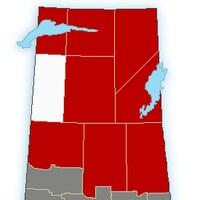 Une carte d'Environnement Canada montrant les secteurs de la Saskatchewan touchés par un avertissement de tempête hivernale.