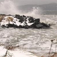Déferlement de vagues le long de la côte à Sept-Îles.