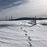 Une clôture de bois dans un champ couvert de neige.