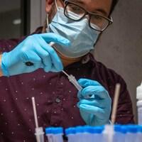 Un technicien de laboratoire portant un masque médical et des gants manipule un échantillon pour un test de dépistage.