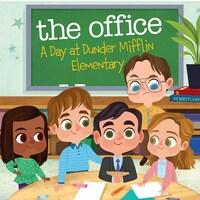 Cinq personnages dessinés de la série The Office dans une classe d'école primaire.
