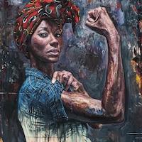 La peinture Rosie No. 1 de l'artiste Tim Okamura présente une femme noire en évoquant l'icône de la culture populaire américaine, Rosie la riveteuse.