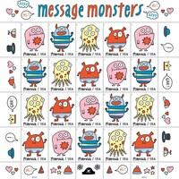 Une feuille de vingt timbres sur lesquels apparaissent un des quatre monstres dessinés par Élise Gravel. Ces timbres sont entourés de plusieurs petits autocollants différents.