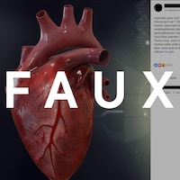 On voit une capture d'écran d'une publication Facebook sur les crises cardiaques avec le mot faux.