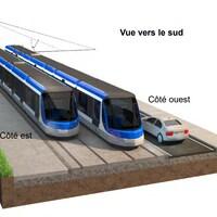 Un croquis du projet de tramway à Québec