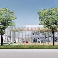 Une illustration avec une station de transport en commun, des gens qui attendent, et des arbres.