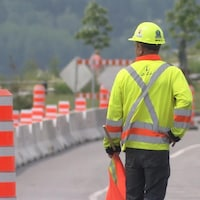 Les travaux sur la route près du site Gaspé, Berceau du Canada