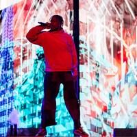 Travis Scott sur la scène principale du festival Osheaga.