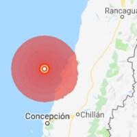 Carte du Chili montrant l'épicentre du tremblement de terre.