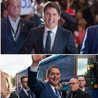 Justin Trudeau, Jagmeet Singh, Andrew Scheer et Yves-François Blanchet à leur arrivée, avant le débat des chefs en français.