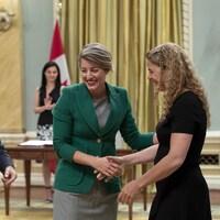 Le premier ministre Justin Trudeau, la ministre Mélanie Joly et la gouverneure générale Julie Payette.