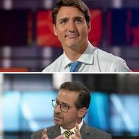 Photomontage montrant Justin Trudeau, Andrew Scheer, Jagmeet Singh et Yves-François Blanchet.