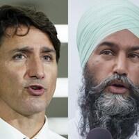 Montage photo montrant M. Trudeau (à gauche) et M. Singh (à droite), en gros plan.