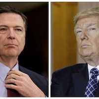 L'ex-patron du FBI, James Comey, et le président américain, Donald Trump.