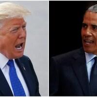 Montage avec d'un côté Donald Trump et de l'autre, Barack Obama.