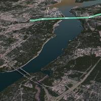 Carte avec le tracé du tunnel reliant les deux rives.