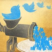 Un logo de Twitter tombe dans un hachoir à viande. Il devient des « j'aime » sur Facebook.