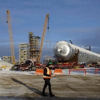 Le chantier de construction de l'usine de plastique Heartland.