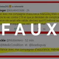 Capture d'écran de deux tweets mentionnant les politiques d'assurance-vie et les vaccins contre la COVID-19. Le mot FAUX est superposé sur la photo.