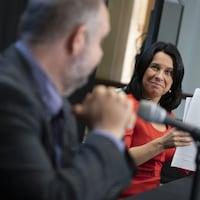 Valérie Plante et Benoît Dorais en conférence de presse.