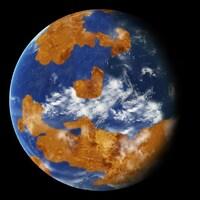 Illustration montrant Vénus couverte d'océans.