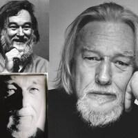 Un montage de trois photos du musicien, en noir et blanc.