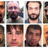 Photo en mosaïque de huit hommes.