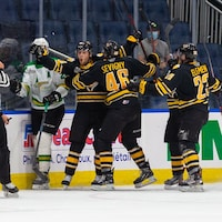 Des joueurs des Tigres de Victoriaville célèbrent leur victoire sur la patinoire.