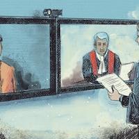 Une avocate présente une preuve à une juge et un accusé en vidéoconférence.
